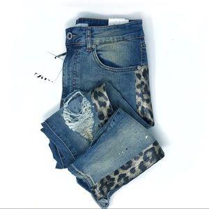 ZARA Skinny Jeans Leopard Stripe High Rise Ripped